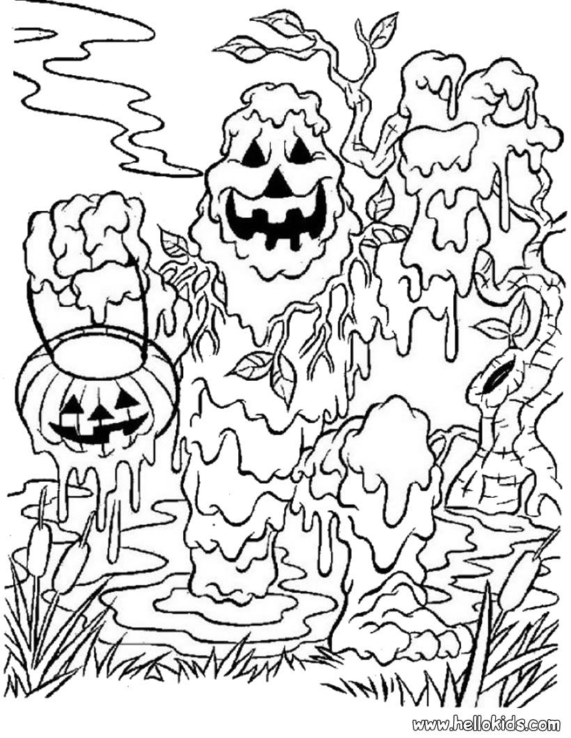 Mud Monster Halloween coloring page   halloween & sugar skulls w ...