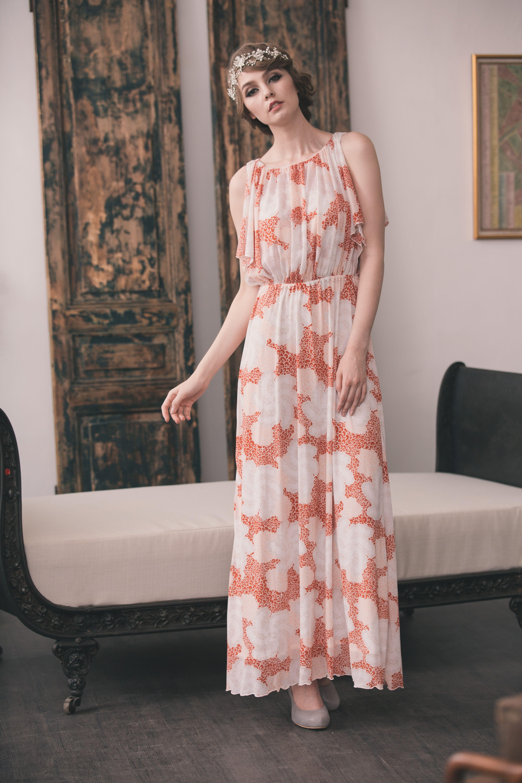 Kanuss 復古雲彩迷霧女神 露背長洋裝 粉橘 backless long dress