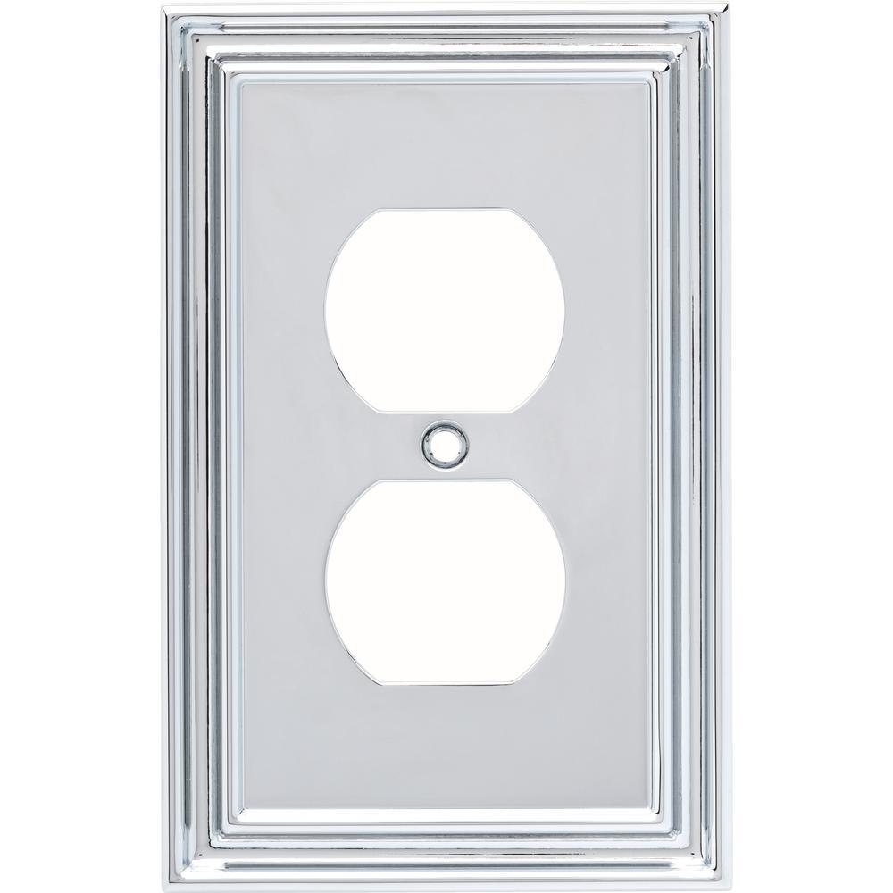 Hampton Bay Chrome 1 Gang Duplex Outlet Wall Plate 1 Pack W36280