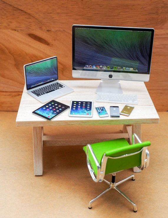 Best Value Deal! Apple imac mcbook iphone ipad miniature Scale 1:6 Set for Dollhouse miniature or Blythe, Barbie, G.I. Joe or Similar doll #miniaturedolls