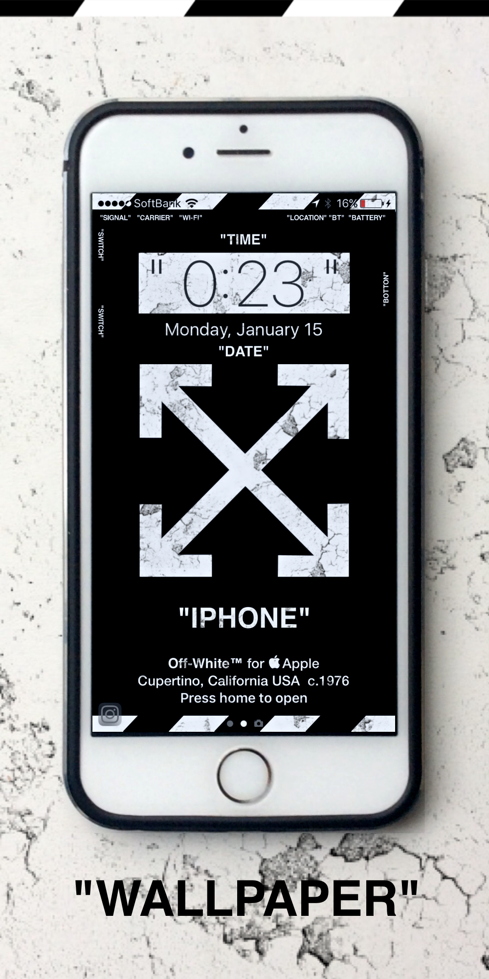 "3eb7595d9962 Off-White™ ""OFF-WHITE"" ""WALLPAPER"" ""IPHONE"" ""壁紙 "" ""TYPE A"""