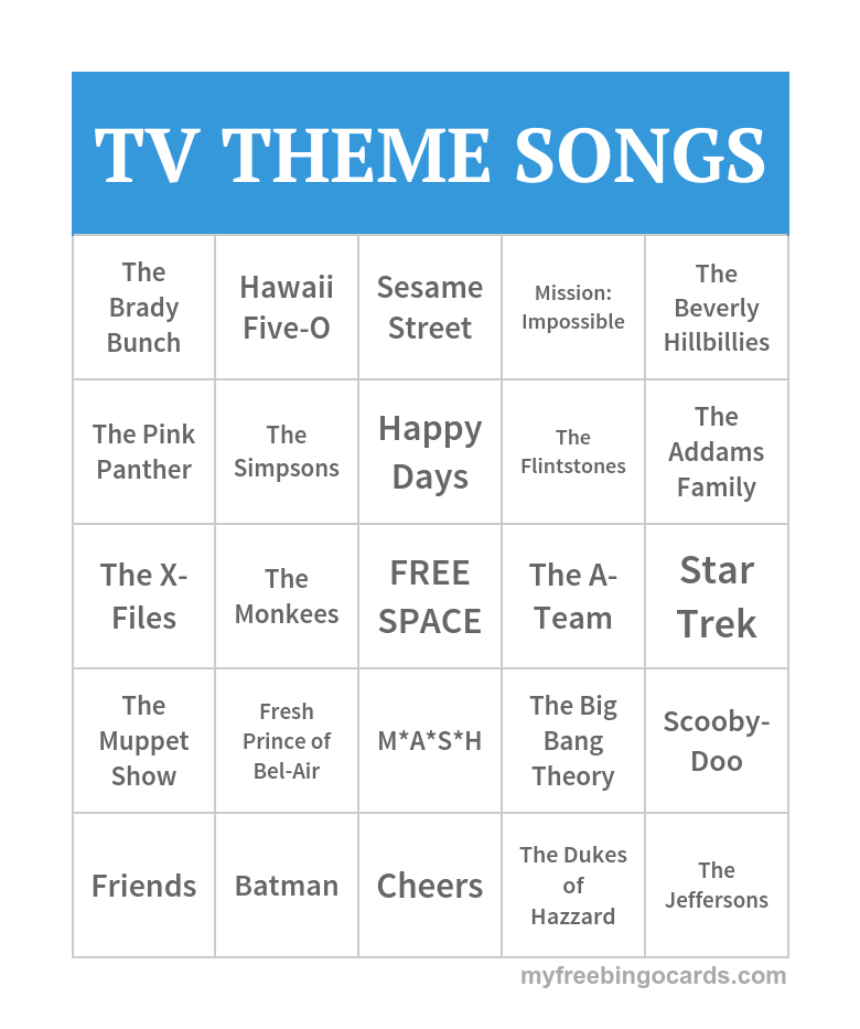 picture relating to Musical Bingo Cards Printable referred to as Absolutely free Printable Bingo Playing cards Get the job done Options Television topic music