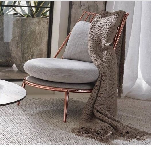 Rose Gold Frame With Neutral Upholstery Furniture In