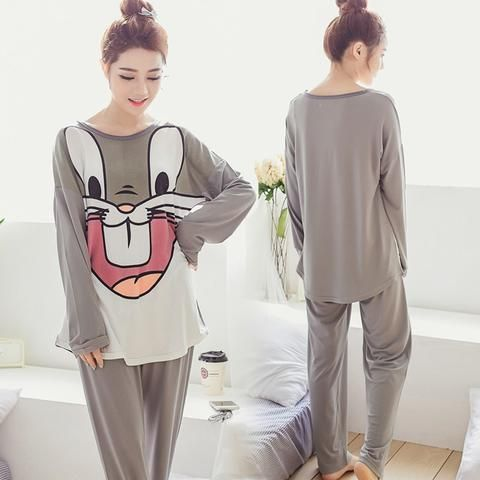 94e0b6f2cf hot sale women Pajamas Set Spring Autumn new Thin cartoon printed Long  sleeve cute Sleepwear Suit casual Homewear Female pyjamas