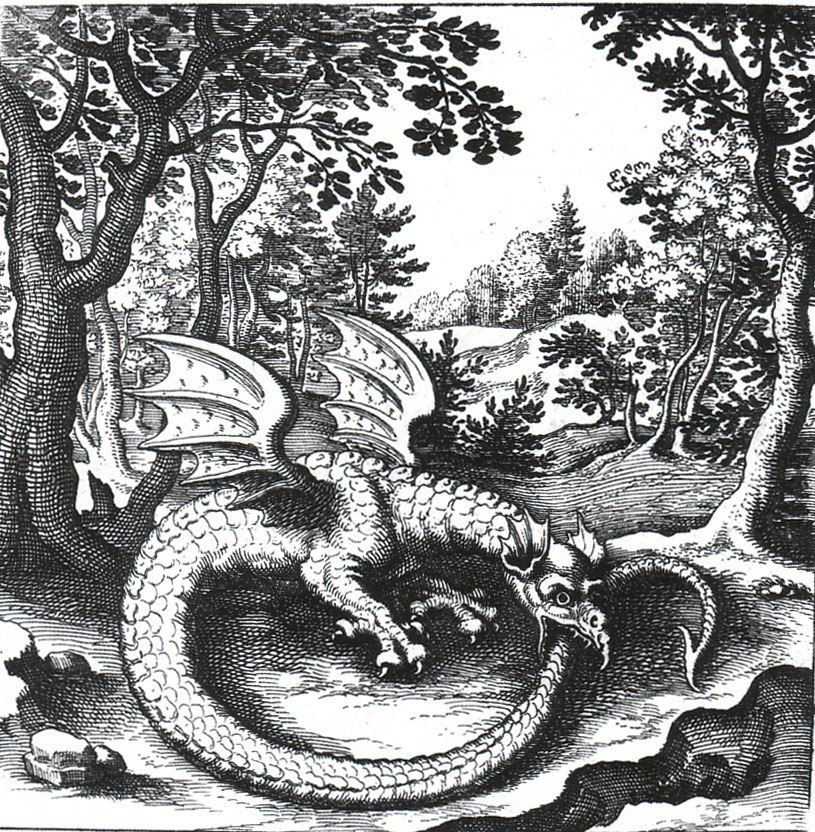 "Ouroboros. Engraving from the book Jennys L. Alchemical emblems  ""Philosopher's Stone"" (1625) 
