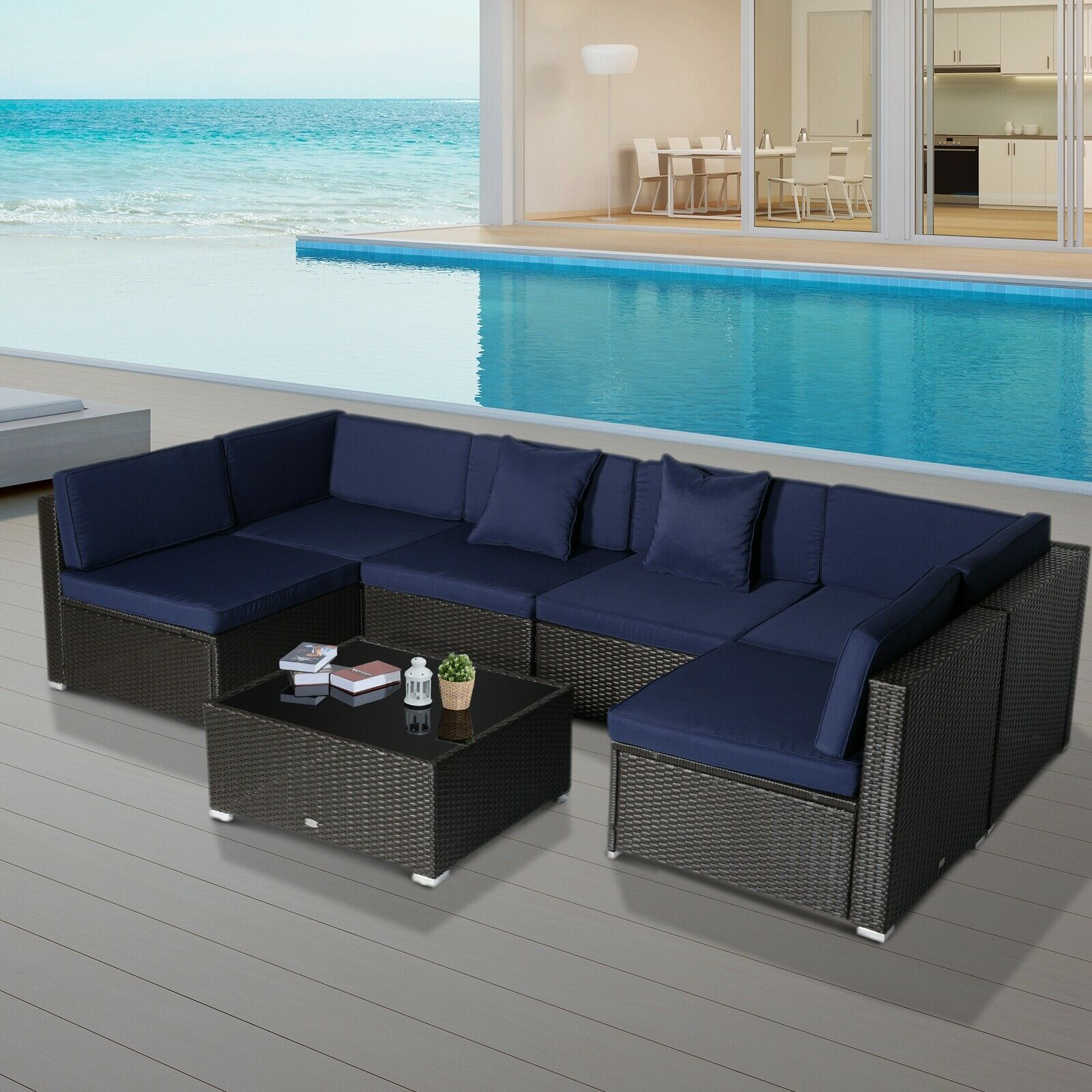 Outsunny Modern Low Back Rattan Chair Sofa Outdoor Sectional Patio