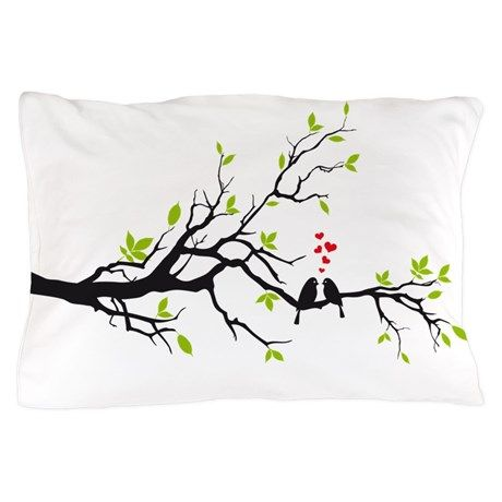 Birds in love with red hearts on sprin Pillow Case