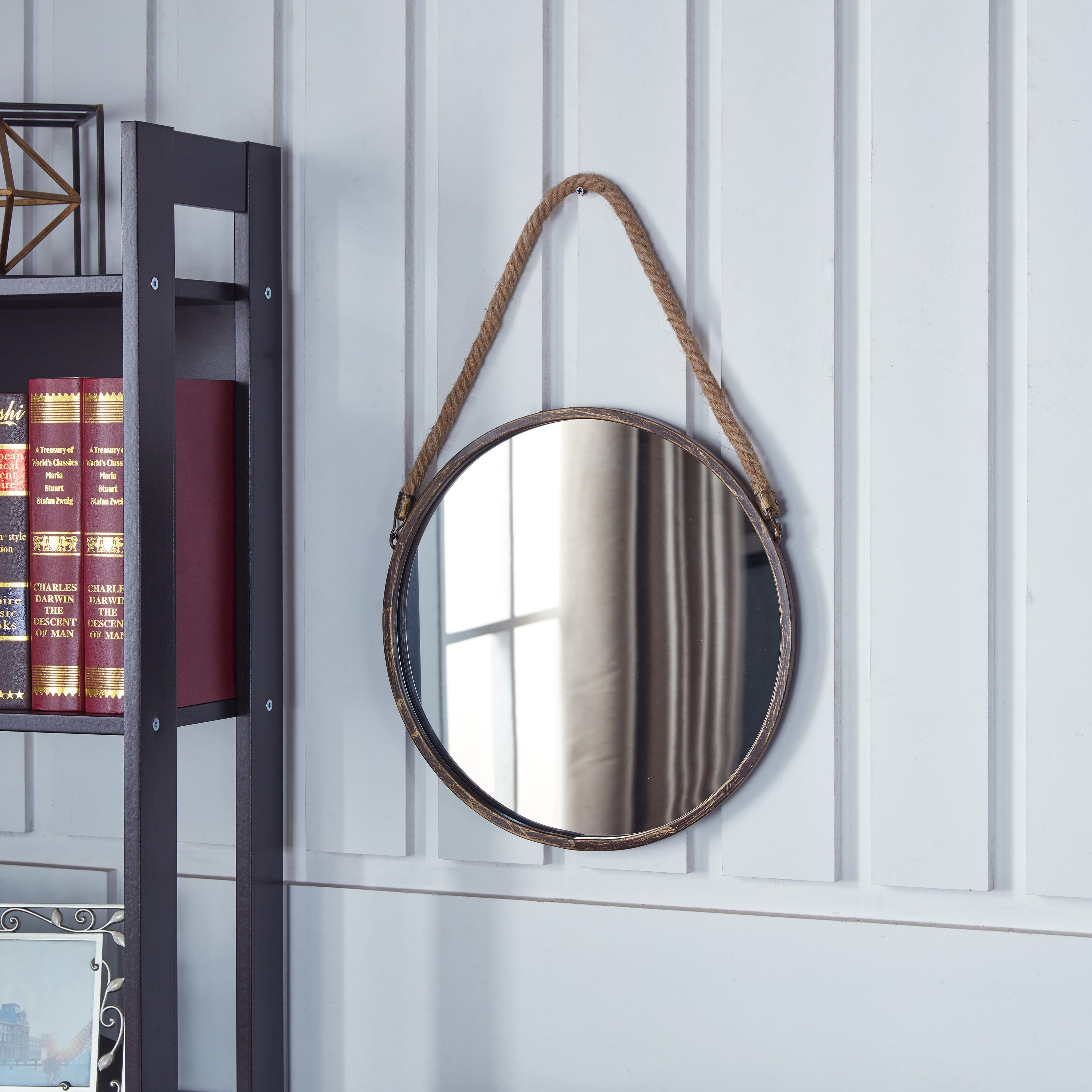 Danya B Patina Goldtone 15 Inch Hanging Rope Round Mirror Antique Gold A N With Images Hanging Mirror Round Mirrors Mirror