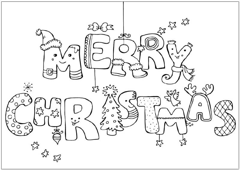 merry christmas greeting card coloring page