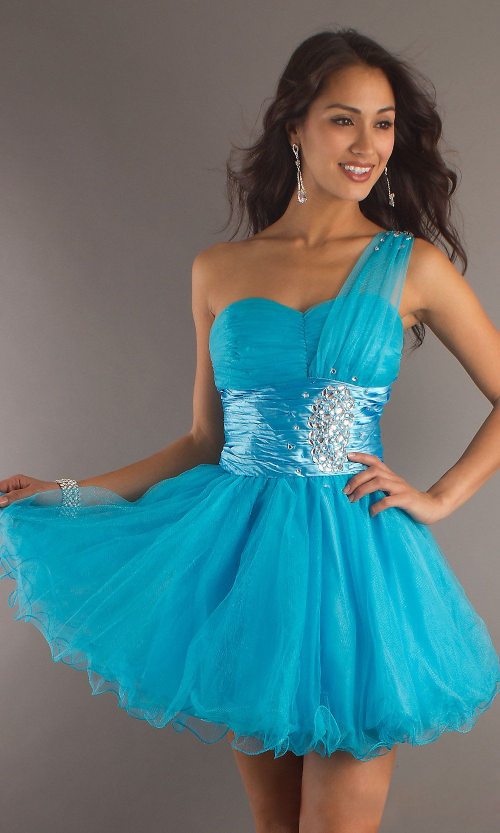 Short One Shoulder Turquoise Homecoming Dress Tulle Skirt Sweetheart ...