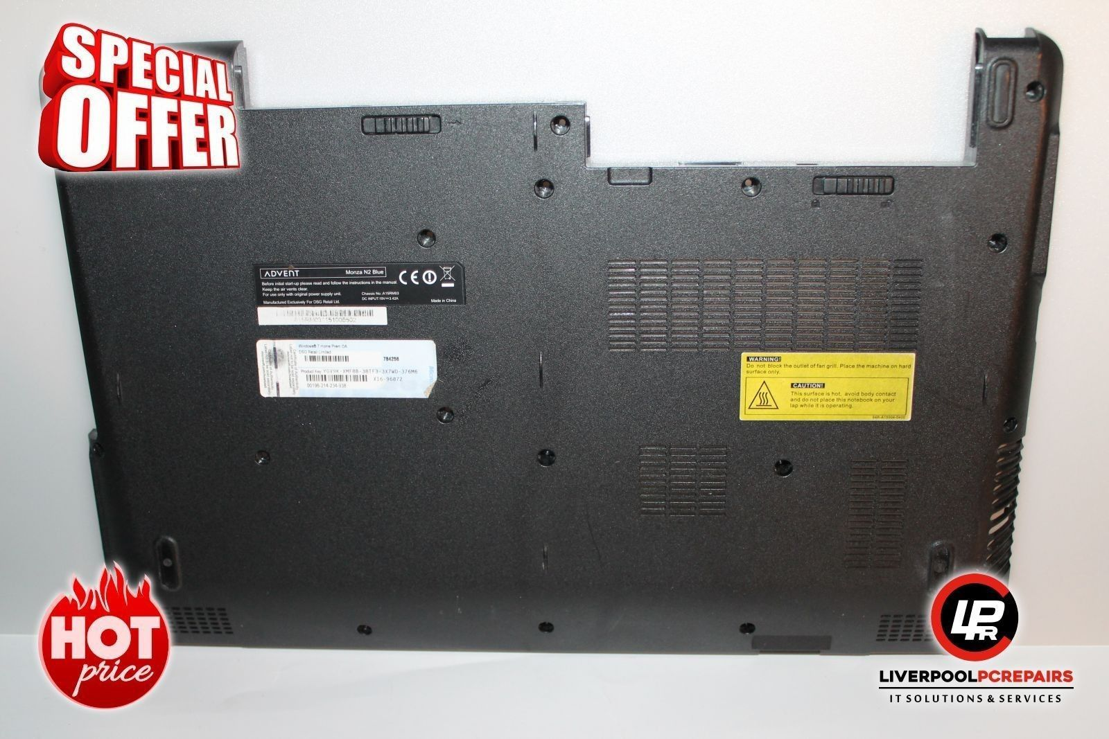 """Item: Advent Monza N2 Bottom Base Cover D0006B5210645 62R-A15D35-3102 """"X841   Postage: Free UK Shipping – Royal Mail 1st Class Item Price: £9.90   Warranty: 30 Day Money BackGuarantee Buy on eBay: ebay.liverpoolpcrepairs.com   Protection: eBay Money Back Guarantee Item..."""