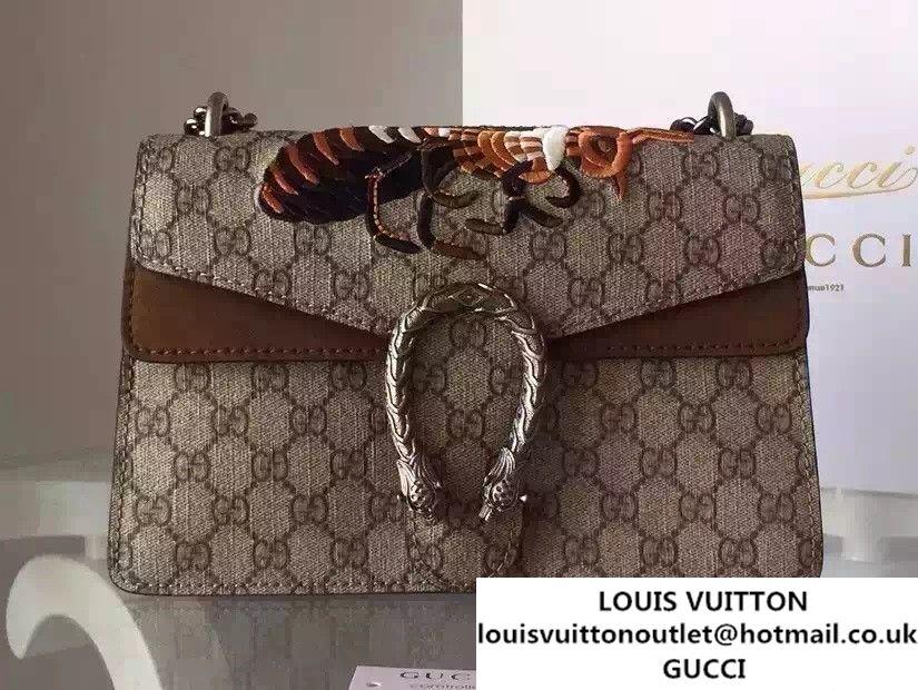8560536b3dfb Gucci Dionysus GG Supreme Bee Embroidered Shoulder Bag 400249 Brown 2015