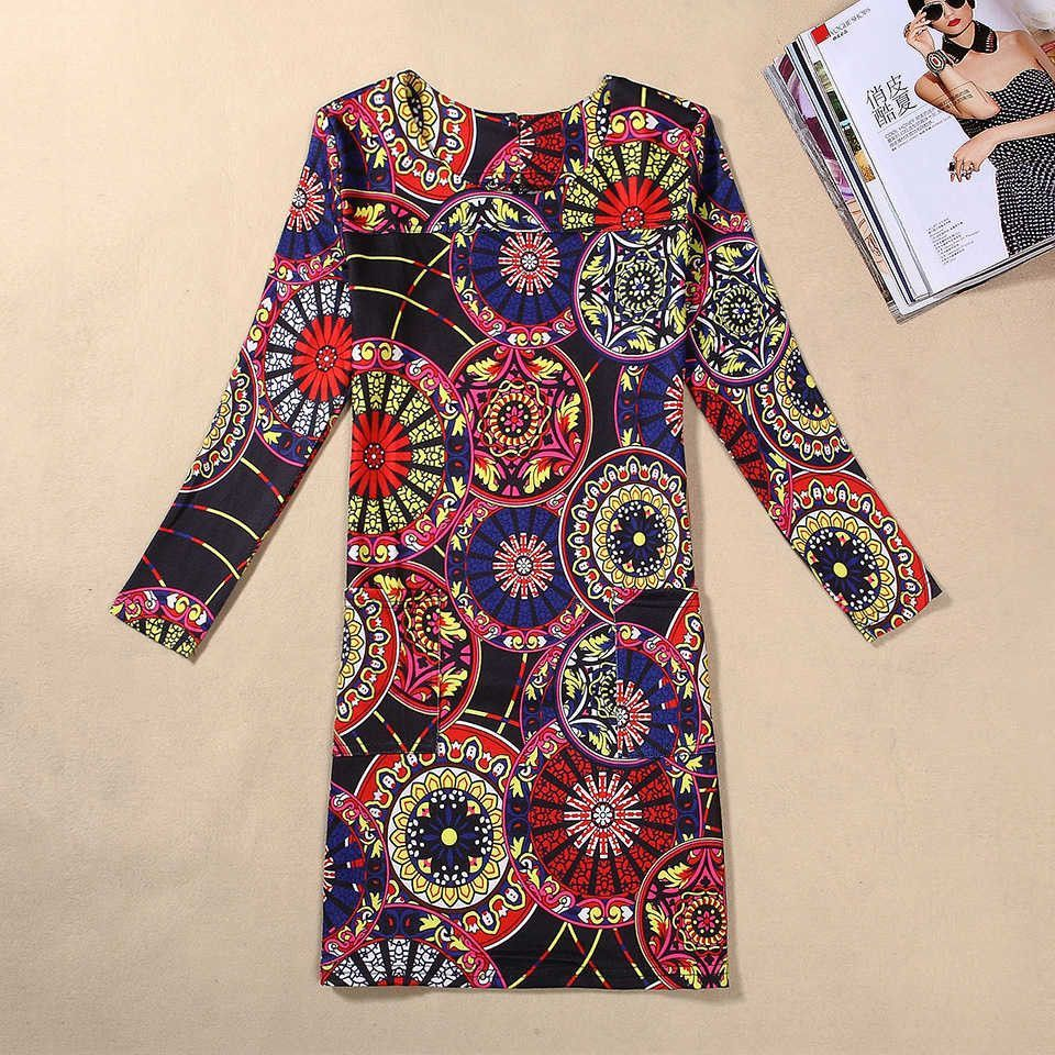 Women winter dress long sleeve sexy vintage floral print womenus