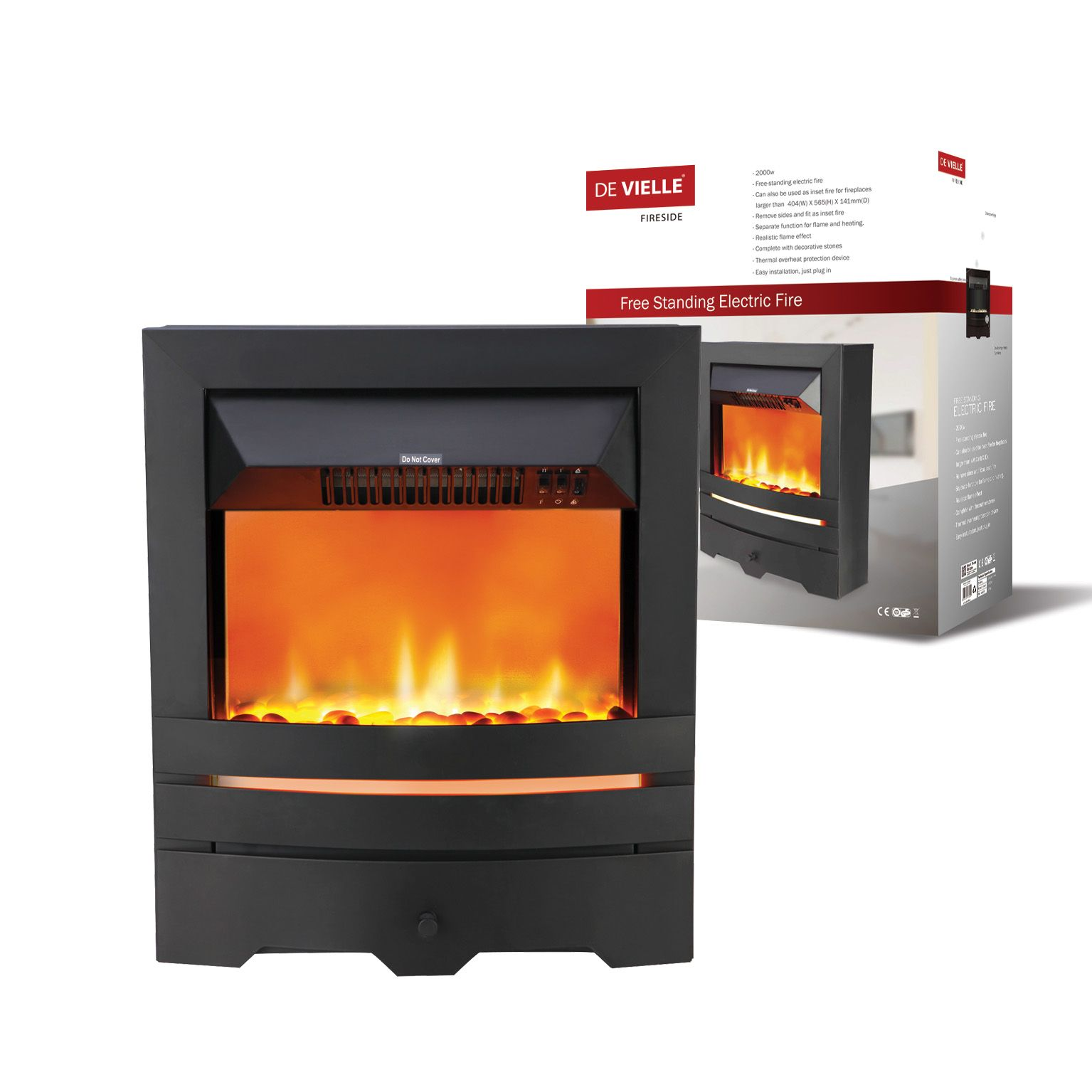 De Ville Free Standing Electric Fire 149 Fire Electrical Cork