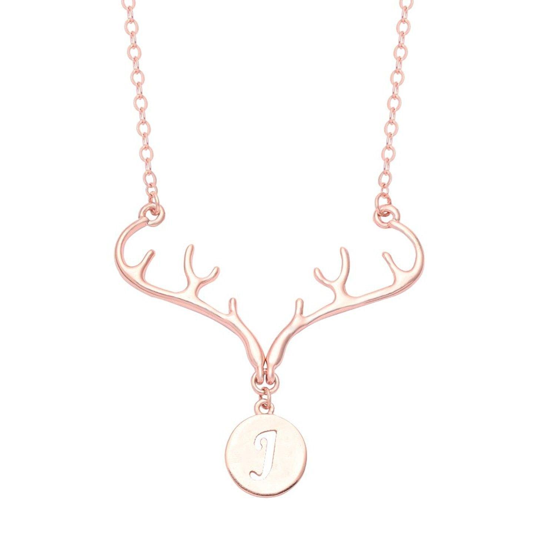 Rose gold plated deer antler initial alphabet letter pendant
