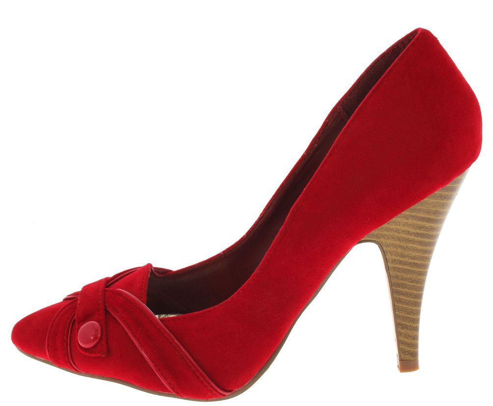 CHEAP-WOMENS SHOES RED BUTTONED POINTED TOE HEEL