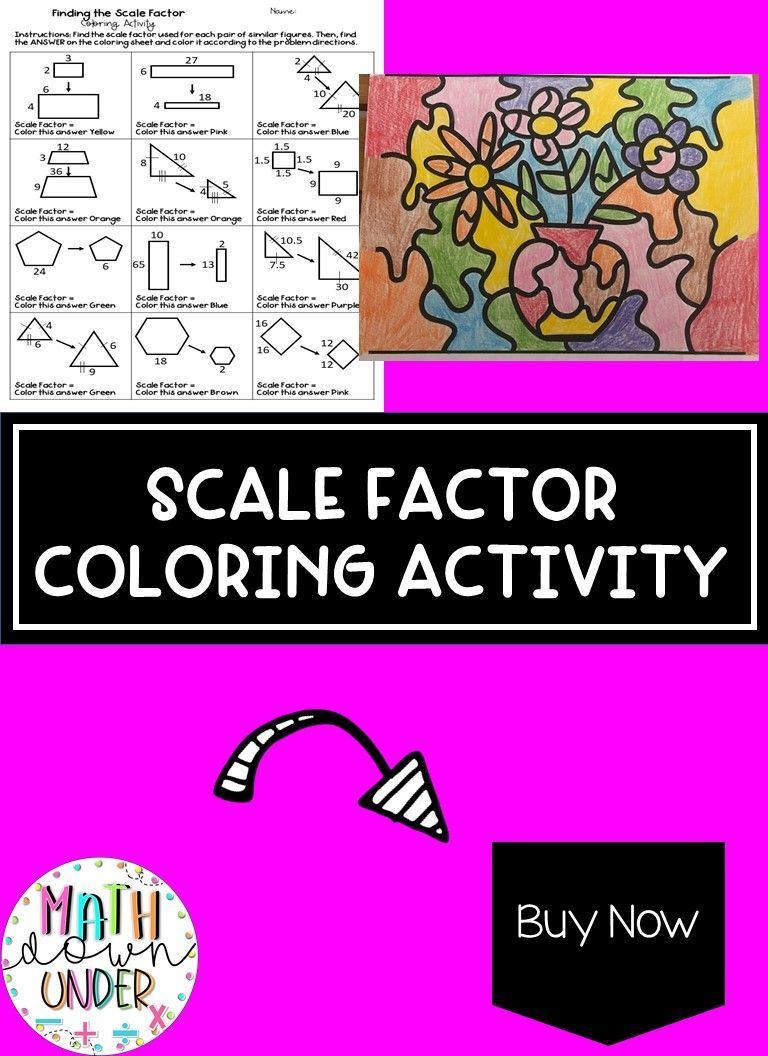 Finding The Scale Factor Of Similar Figures Coloring Activity Color Activities Middle School Math Resources 7th Grade Math [ 1056 x 768 Pixel ]