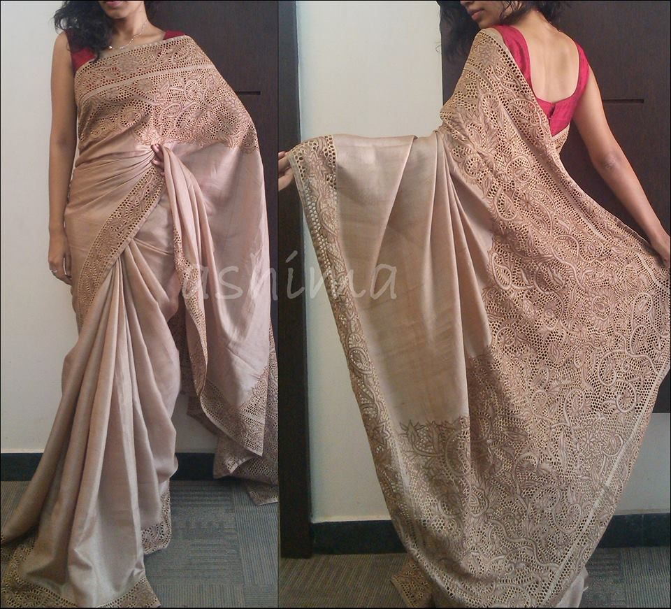 3003150 Tussar Saree with Cutwork - Biege  AVAILABLE For this saree please contact us by messaging our Inbox in FB / mailing us at ashima.retail@gma... or calling us at +91 484 4044800