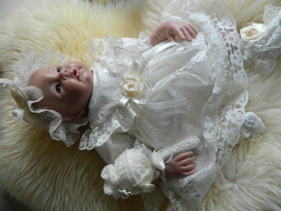 Reborn/Newborn Baby dress IN CREAM lace and  by RebornDollsnBabies