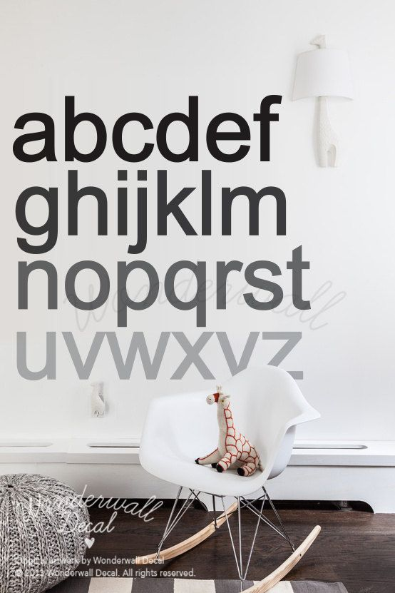 New Alphabets Wall Decal Bold Modern And Minimalist Nursery Removable Sticker Wallpaper Suitable For Baby Kids Room Wonderwall