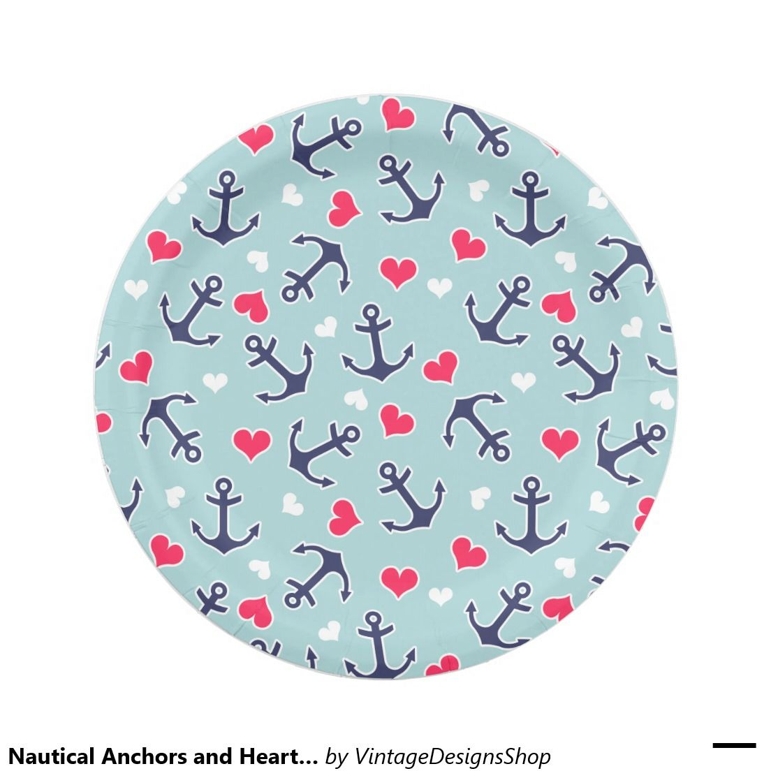 Nautical Anchors and Hearts Pattern 7 Inch Paper Plate  sc 1 st  Pinterest & Nautical Anchors and Hearts Pattern 7 Inch Paper Plate | Catamaran ...