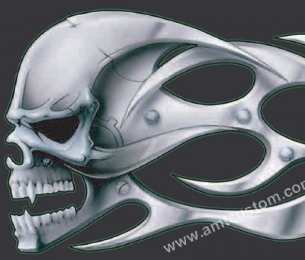 Motorcycles With Skulls And Flames Skull Flames Tank Motorcycle - Stickers for motorcycles harley davidsons