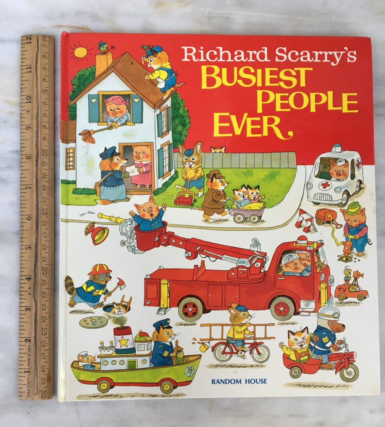 vintage Richard Scarry's Busiest People Ever, Random House, 1976 copyright, large book, children's book, collectible by MotherMuse on Etsy