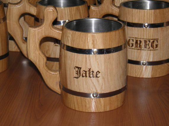 Personalized Wooden Beer mug  08 l 27oz  by UkrainianSouvenir, $22.50