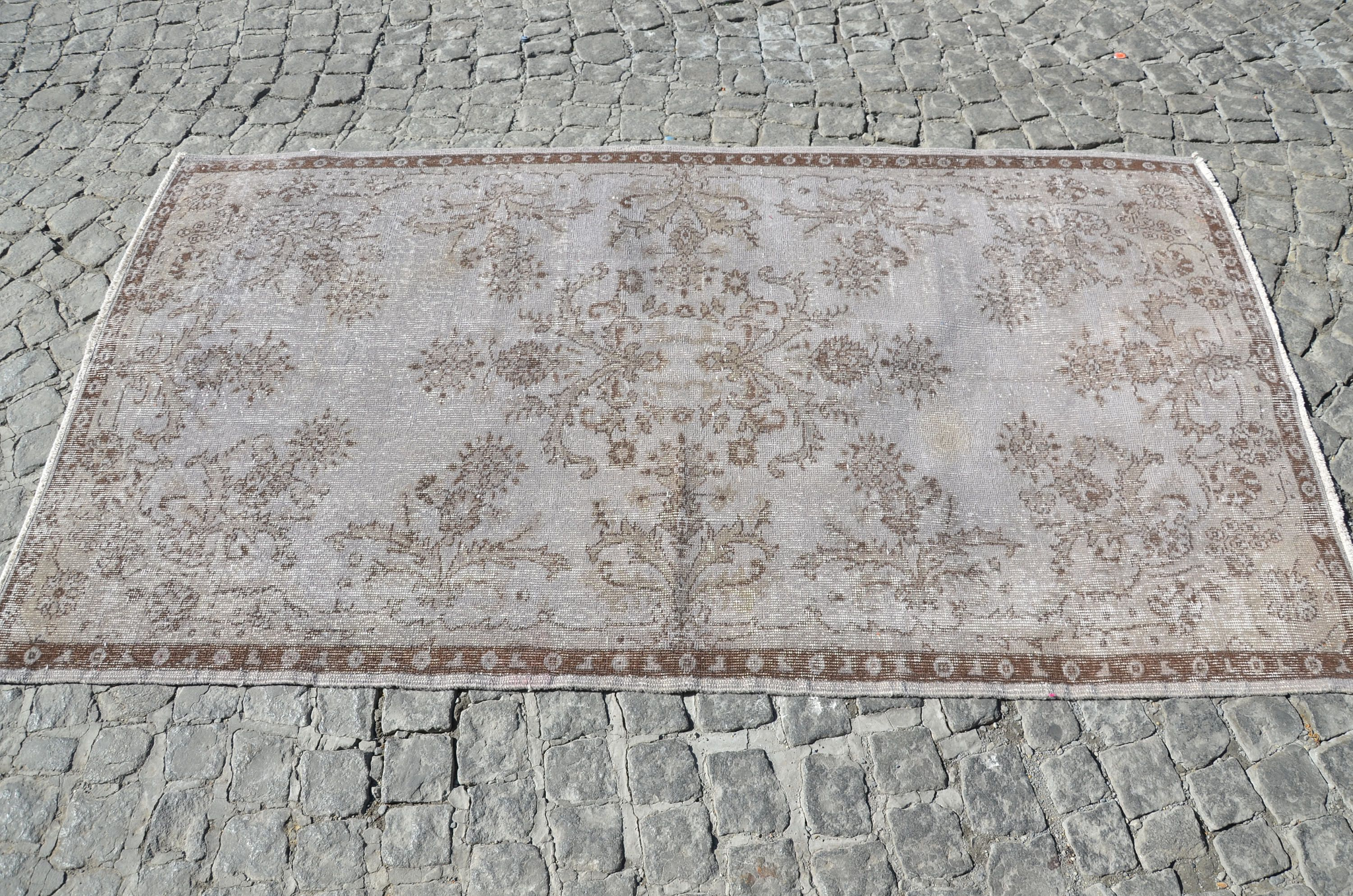 Grey Overdyed Rug With Flower Patterns Turkish Oushak Handmade Gray Vintage