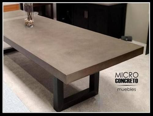 Mesa de comedor microcemento cemento alisado 1 60 x 0 90 m mesas de luz cemento - Mesa de silestone ...