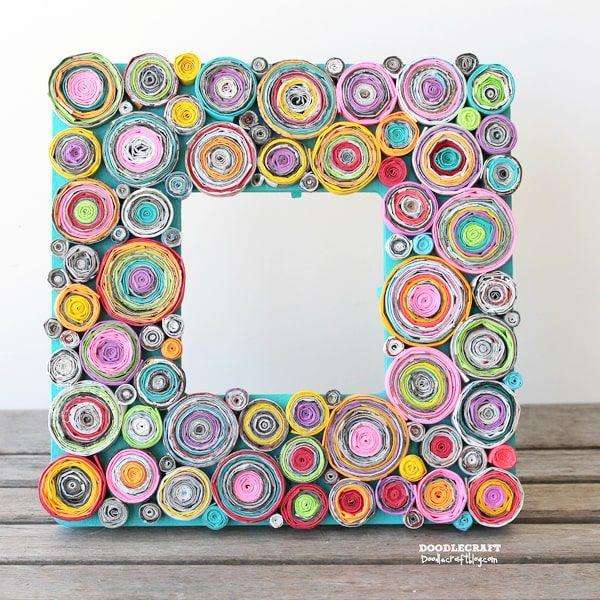 Upcycled Rolled Paper Frame Diy Craft Artesanato De Revistas