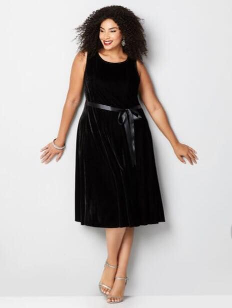 98944b0099c black plus size velvet fit and flare dress