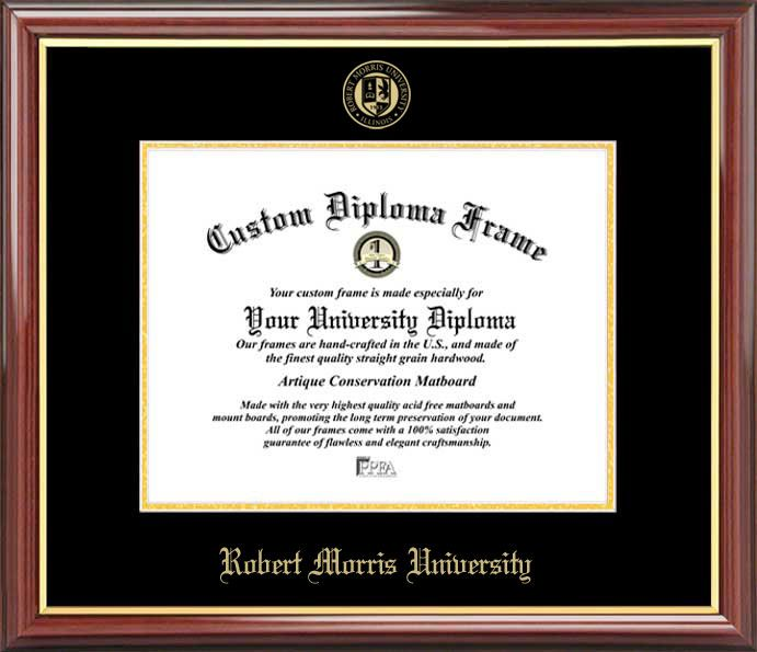 Robert Morris University (IL) Diploma Frame - Embossed Seal - Mahogany Gold Trim