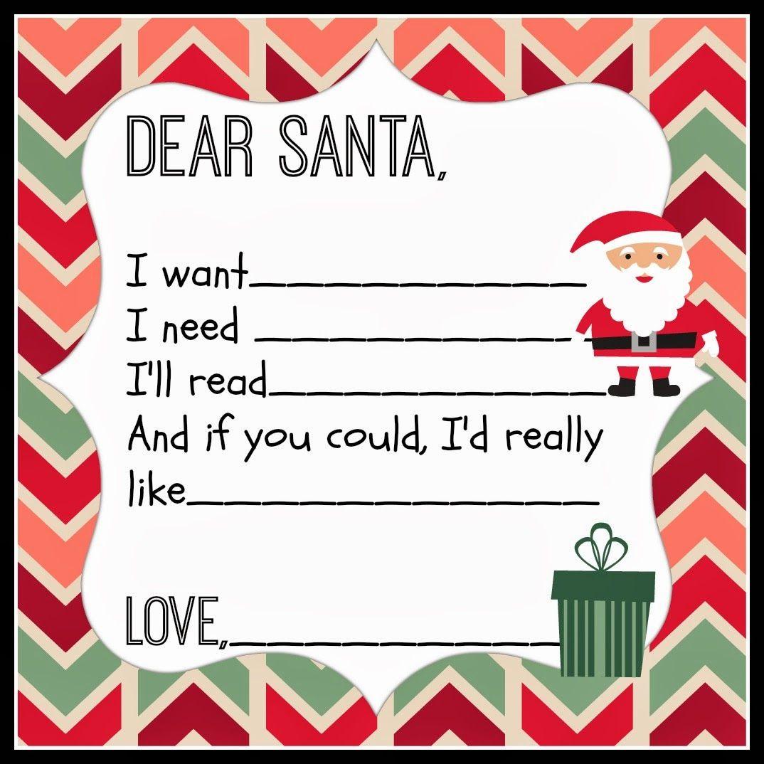 Dear Santa Printable for Christmas Santa letter
