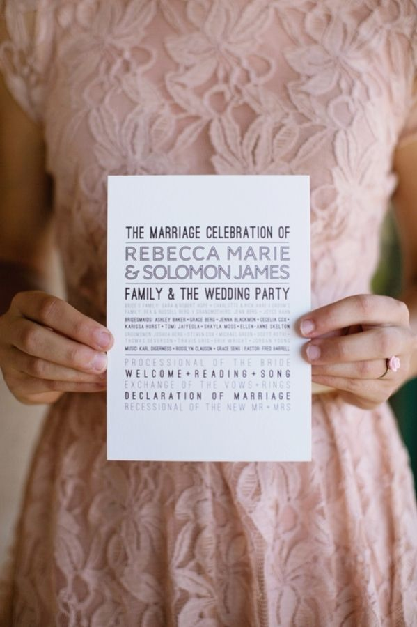 Modern Wedding Ceremony Program | photography by http://korielynn.com/