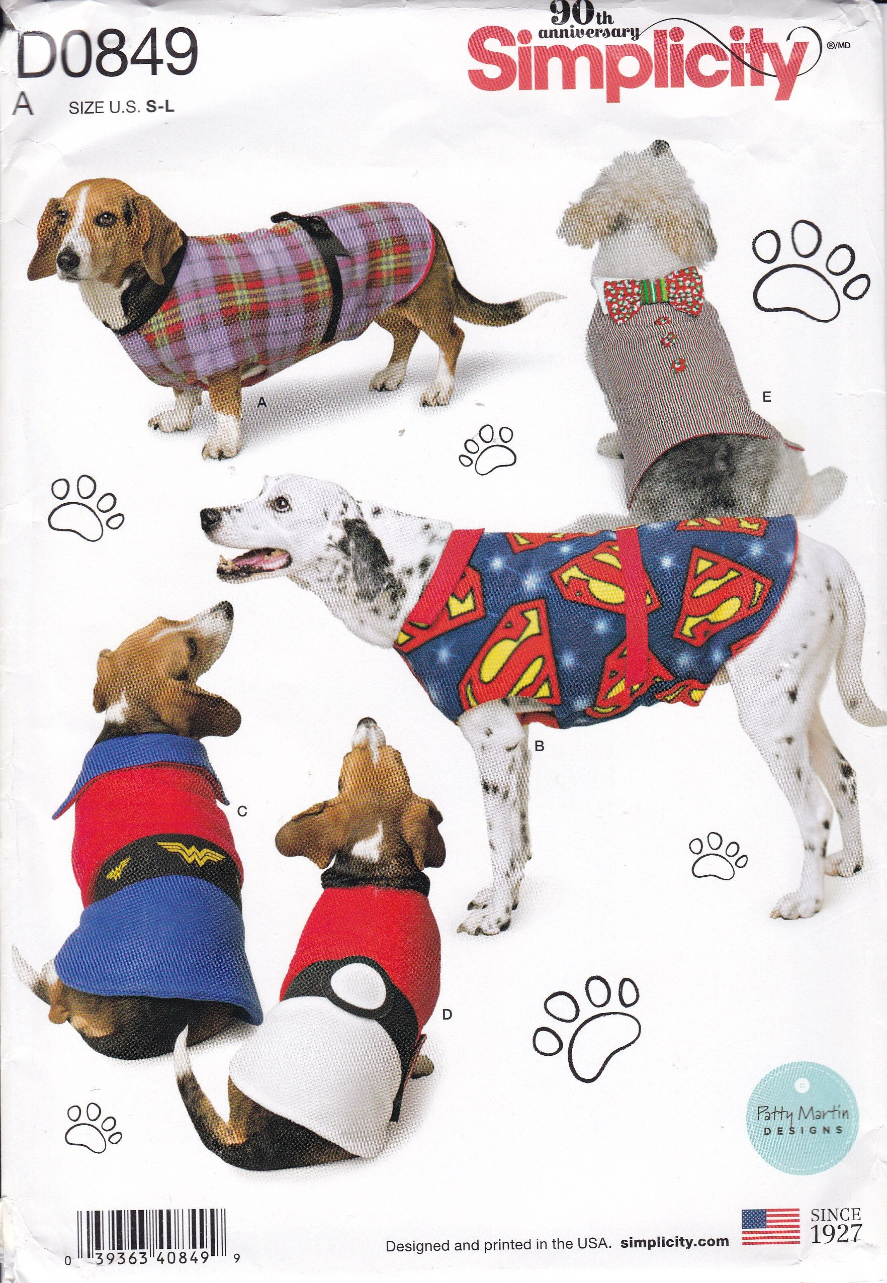 DOG PET SEWING CLOTHES PATTERN  SWEATER COAT WOOFY WEAR SMALL TO LARGE UNCUT
