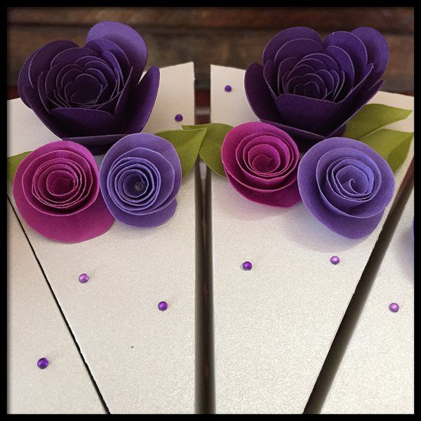 Cake Favor Boxes - Purple Flowers | Paper Pieces by Stacy Unique Handmade Art & Gifts