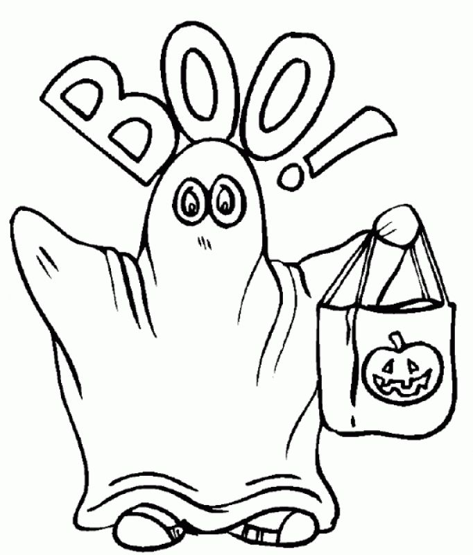 Kid wearing Ghost costume on halloween coloring pages Fantasy