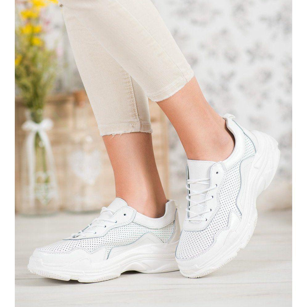 Goodin Biale Skorzane Sneakersy Wedding Sneaker Wedding Shoe Sneakers