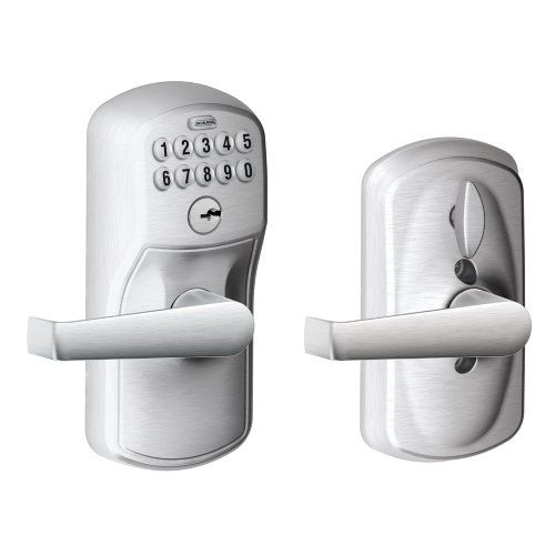 Schlage Fe595 Ply 626 Ela Plymouth Keypad Entry With Flex Lock And Elan Style Levers Brushed Chrome Schlage Lock Company Schlage Keypad Door Locks Keypad Lock