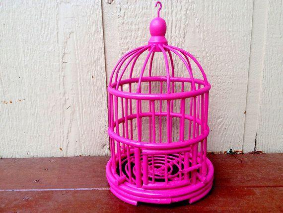 Hot Pink Bird Cage Home Decor Room By 2rendyvintage 34 00