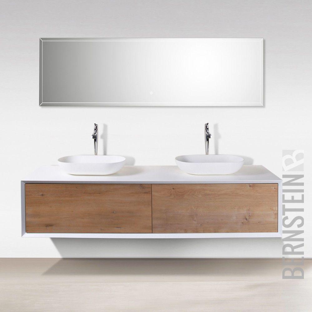 Badmöbel 180 cm Eiche LED Spiegel Aufsatzwaschbecken Unterschrank Waschtisch   eBay   Badezimmer ...