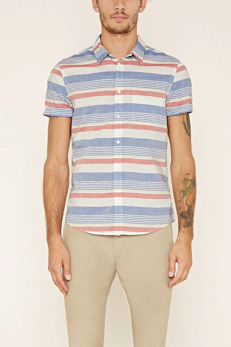 A slim fit woven shirt with mixed stripe patterns, a basic collar, short sleeves, a chest patch pocket, and a button-up front. #Forever21Men