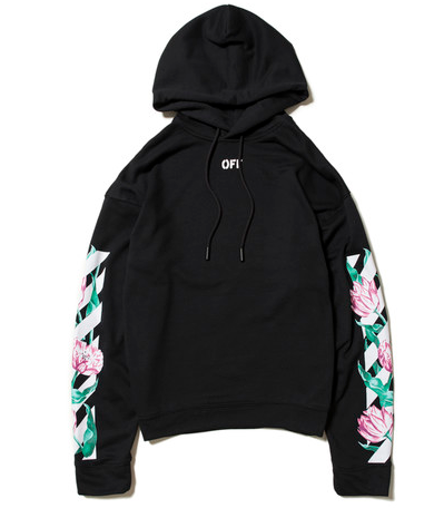 Off White Floral Arrows Tulips Hoodie Black Add Some Softness To That Rugged Off White Vibe Offwhite Hoodie Floral Hot Hoodies Streetwear Outfit Hoodies