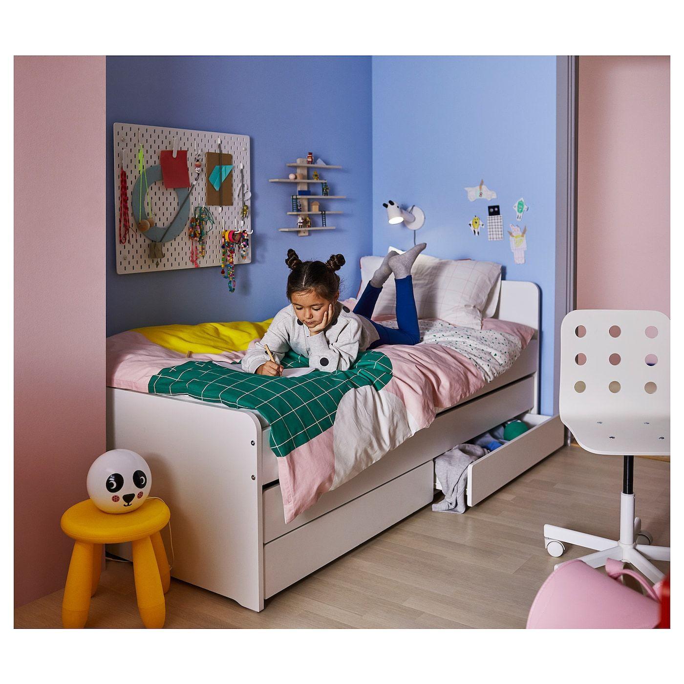 Slakt Bedframe Met Onderbed En Opberger Wit 90x200 Cm Ikea