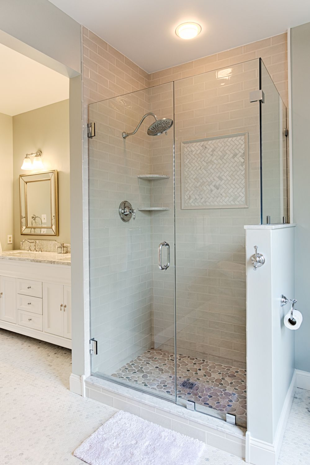 Frame-less glass enclosure add elegance to this over sized shower ...