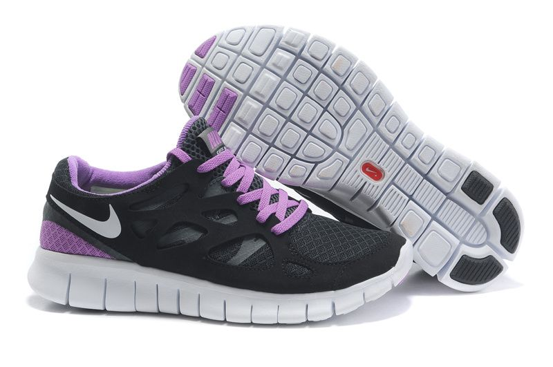 Wholesale Cheap Mens Nike Free Run 2 Black White-Anthracite-Bright Violet Running  Shoes Shop
