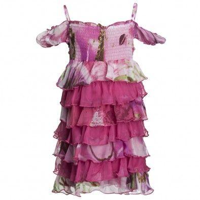 Fun & Fun Pink Floral Chiffon Tiered Dress at Childrensalon.com