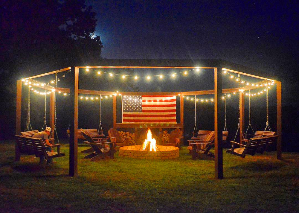 Photo of DIY Backyard Pergola With Swings – Wooden Fire Pit Pergola With Swings