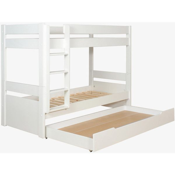 Pongo White Kid's Eu Single Detachable Bunk Bed With Storage Drawer... ($690) ❤ liked on Polyvore featuring white